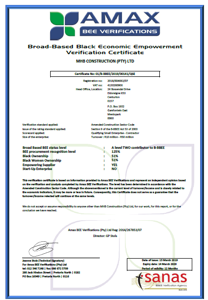 MHB Construction BEE Certificate